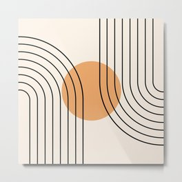 Geometric Lines in Black and Beige 14 (Rainbow and Sun Abstraction) Metal Print