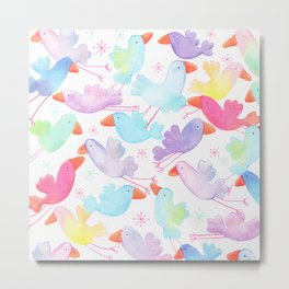 Colorful pink teal watercolor bird pattern Metal Print