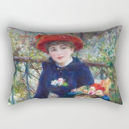 Two Sisters (On the Terrace) (1881) by Pierre-Auguste Renoir Rectangular Pillow
