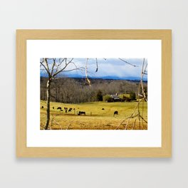 Cattle ranch overlooking the Blue Ridge Mountains Framed Art Print