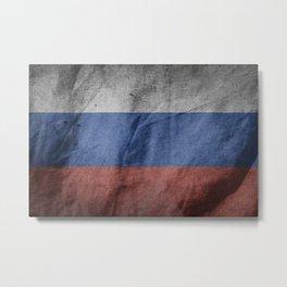 Old Vintage Grunge Russia Flag Metal Print