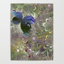 The butterfly of a fractal dreamscape Poster