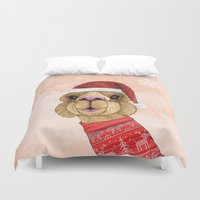alpaca Duvet Covers featuring Alpaca Christmas by Barruf