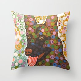 Zeus ... Abstract pet animal dog portrait art, German Shepherd Throw Pillow