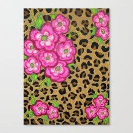 Floral leopard print Canvas Print