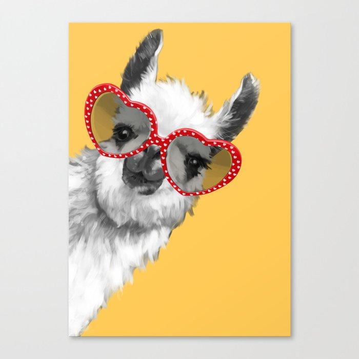 Fashion Hipster Llama with Glasses Leinwanddruck