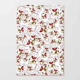 Good luck cat pattern/ red Maneki-neko Canvas Print
