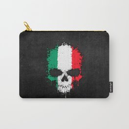 Flag of Italy on a Chaotic Splatter Skull Carry-All Pouch