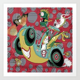 get in the car, we're goin' for a ride! Art Print