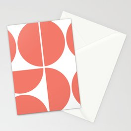 Mid Century Modern Living Coral Square Stationery Cards