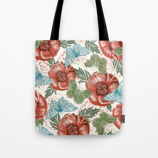 Poppies and Butterflies Pattern Tote Bag