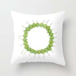 Green Wildflower Circle Throw Pillow
