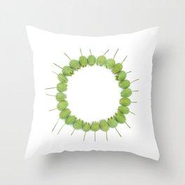 Green Wildflower Circle Throw Pillow