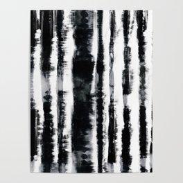 Tie-Dye Shibori Stripe BW Poster