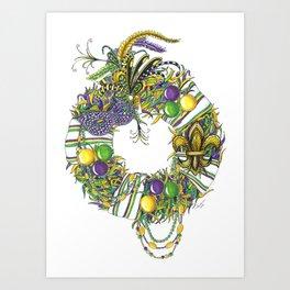 Mardi Gras Wreath Art Print