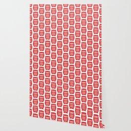 Mid Century Owl Pattern Red Wallpaper