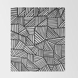 Black Brushstrokes Throw Blanket