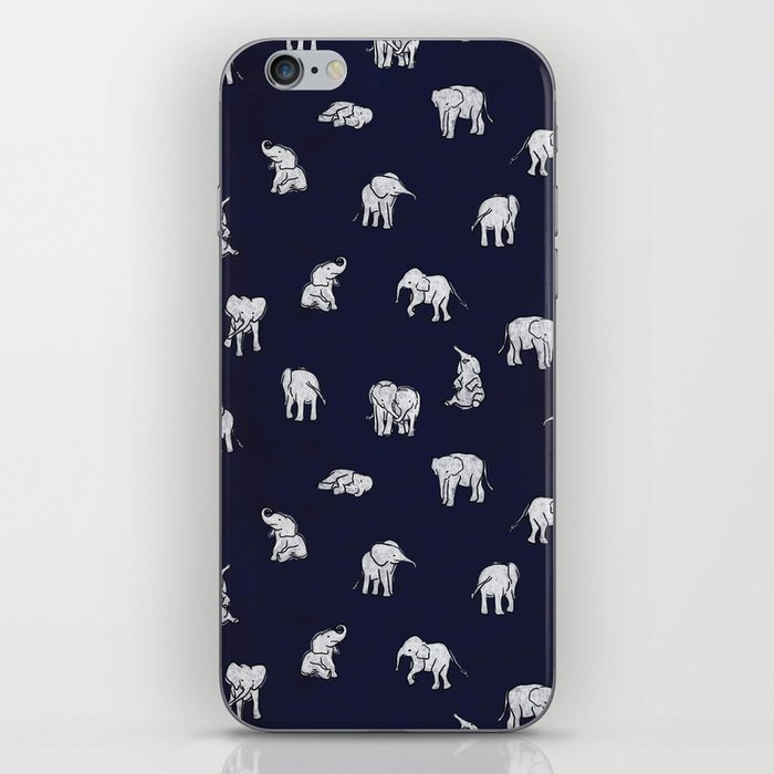 Indian Baby Elephants in Navy iPhone Skin