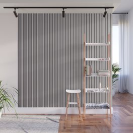 Grey Metal Bars Vertical Lined Stripes Wall Mural