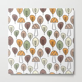 cute fall autumn colorful seamless pattern background with mushrooms and leaves Metal Print