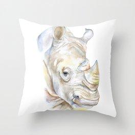 Rhino Watercolor Throw Pillow
