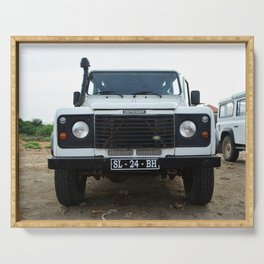 Classic Landrover Defender | classic car photography | oldtimer Serving Tray