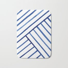 Watercolor lines pattern | Navy blue Bath Mat