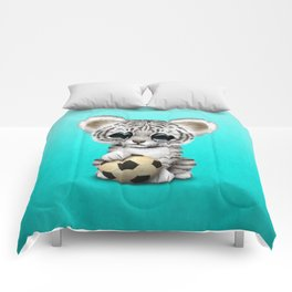 White Tiger Cub With Football Soccer Ball Comforters