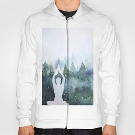 Sukhasana Easy Pose Arms Up in a Pine Trees Forest - Watercolor Hoody