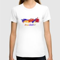 manchester T-shirts featuring Manchester skyline in watercolor by Paulrommer