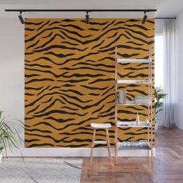 Orange and Black Tiger Stripes Wall Mural