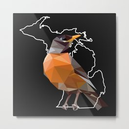 Michigan – American Robin (Black) Metal Print
