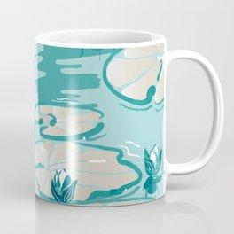 Monets Waterlilies Pattern — Mint Green Coffee Mug