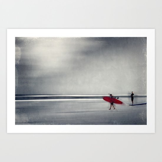 red surf board Art Print