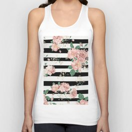 VINTAGE FLORAL ROSES BLACK AND WHITE STRIPES Unisex Tank Top