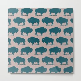 Buffalo Bison Pattern 263 Green and Beige Metal Print