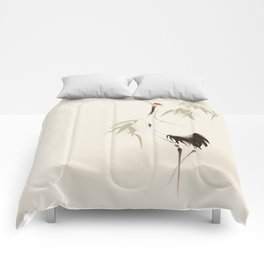 Oriental Red-Crowned Crane 001 Comforters