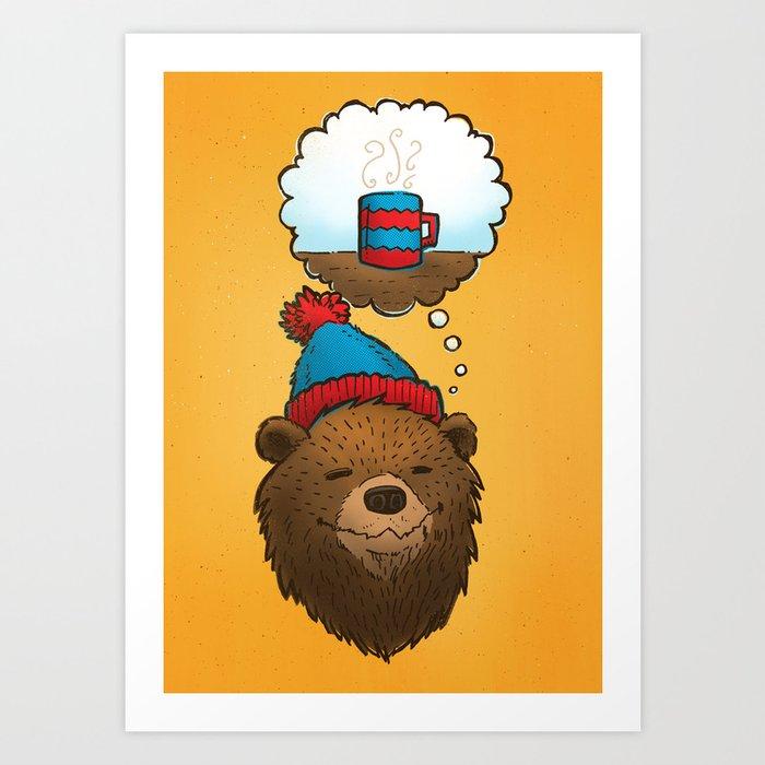 Novembears Love Coffee Art Print
