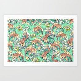 Golden Koi Fish in Pond Art Print