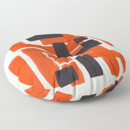 Harsh Mid Century Modern Line Pattern Ancient Aztec Ruins Orange Maze Pattern Black Accent Floor Pillow