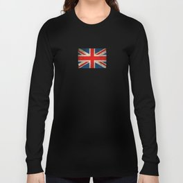 Old and Worn Distressed Vintage Union Jack Flag Long Sleeve T-shirt