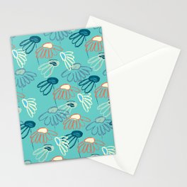 Abstract flowers on turquoise background Stationery Cards
