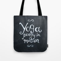 yoga Tote Bags featuring YOGA! by Jon Cain