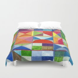 Grid with Centered Red Half Circle Duvet Cover