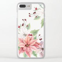 Poinsettia 2 Clear iPhone Case