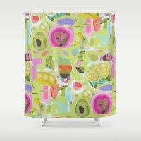 karen Shower Curtains featuring Abstract Green Bohemian Design by Karen Fields by Karen Fields Design