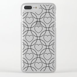 Decor with circles and hearts Clear iPhone Case