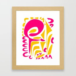 Summer Pop abstract pattern pink and yellow Framed Art Print