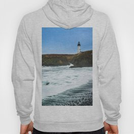 Receding waves at Yaquina Head Lighthouse in Newport, Oregon Hoody