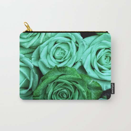 Sea Green Roses Carry-All Pouch